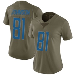 Calvin Johnson Detroit Lions Women's Limited Salute to Service Nike Jersey - Green