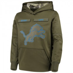 Youth Detroit Lions Green 2018 Salute to Service Pullover Performance Hoodie